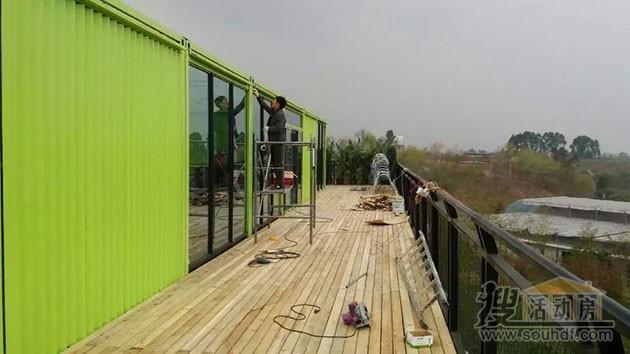 集装箱房屋正在施工建造中