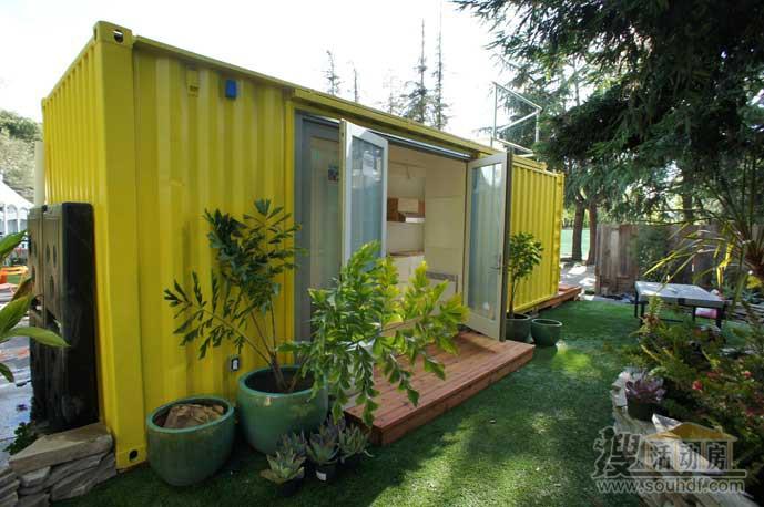 黄色的集装箱小房子