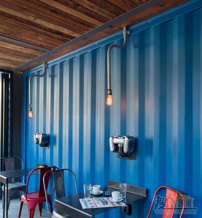 集装箱咖啡屋的内部装修简单